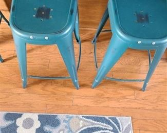"Pair of 24"" metal bar stools chalky dark teal"