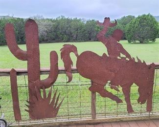 cowboy and cactus lifesize metal art