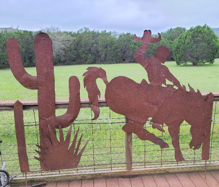 cowboy and cactus lifesize metal art