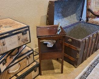 antique luggage and trunk