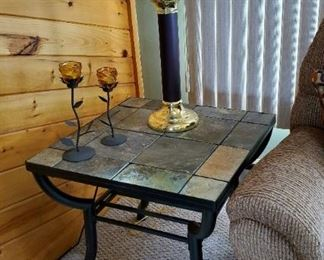 Stone top on metal base tables (coffee, two end tables, and side table)