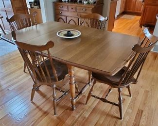 Maple drop leaf table with four (4) Rockport fiddleback chairs and two (2) leaves