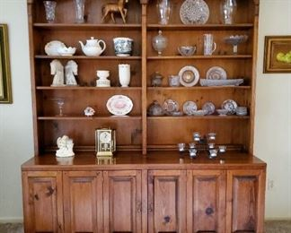 "Two pc pine hutch (72"" wide x 21"" deep x 85"" tall)"