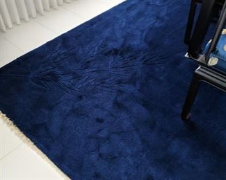 Wool Woven Deep Royal Blue Carpet with Bamboo design on the corners..  $1000  Purchased in China