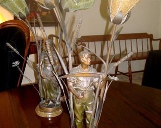 Unusual antique figural lamps with tiny beaded glass shades