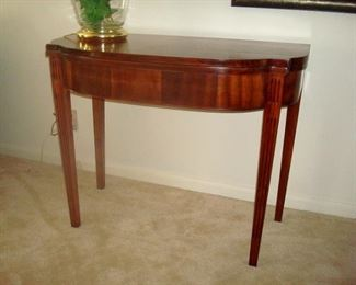 Vintage Sheraton style half table, back hinges missing.