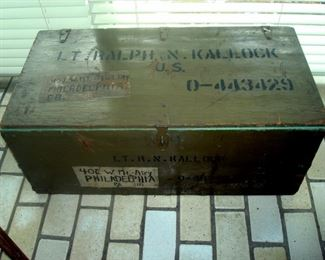 Antique trunk which once belonged to pilot Lt. Ralph N. Kallock  who was the first Korean air force pilot casualty to be buried in Arlington Cemetary.
