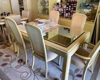 Beveled Mirror Top Dining set with 2 leaves and 6 chairs