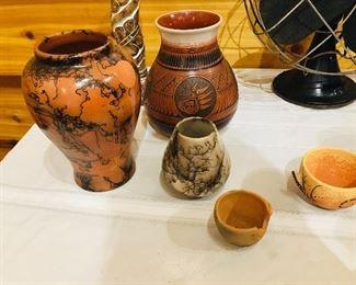 Native American pottery by Kinlicheni, Mitchell Blackhorse, , & Geri Vail