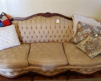 Victorian tufted sofa, pillows, throws