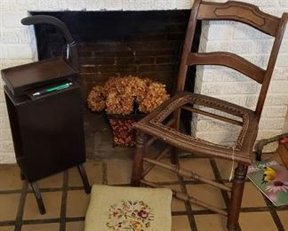 Vintage chair, dried hydrangeas, stool, side table