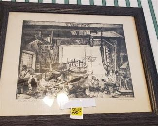 Framed and matted Lionel Barrymore art