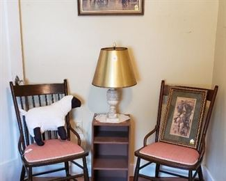 Marble base lamp, vintage spindle chairs, framed art