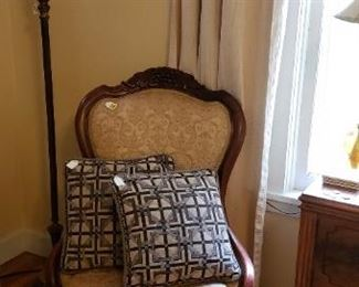 Victorian upholstered chair, floor lamp, watercolor, pillows
