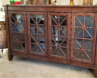 Glass and wood console, sideboard, server.