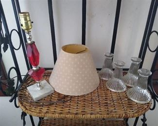 Small lamp & 4 candle holders