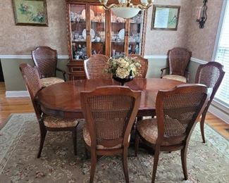 Dinning Room Table 8 Chairs with extra Leaf, China Hutch, Area Rug