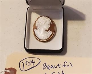 18k gold shell cameo pendant or brooch.  Lots of gold and silver in this auction.