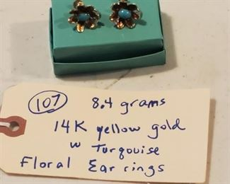 14k gold earrings with turquoise stones and diamonds