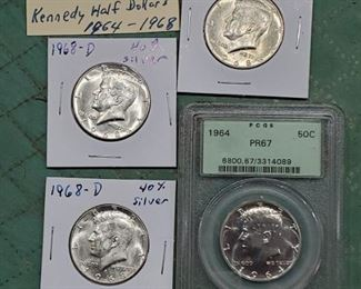4 nice Kennedy half dollars, lots of old coins in this auction.
