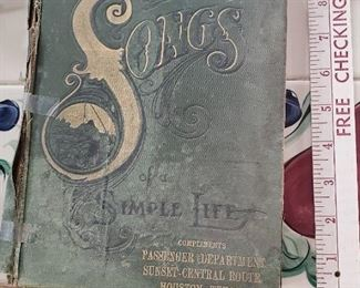 Fabulous old railroad advertising book of songs and railway ads for MKT Santa Fe and many more RRs