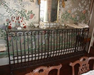 "Wrought Iron Marble Top Console 95 1/2"" x 18"" x 43"""
