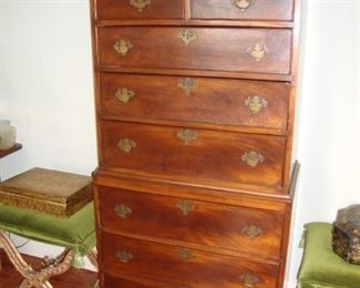 18th Century Tiger Maple or Crotch Mahogany  New England Chest on Chest