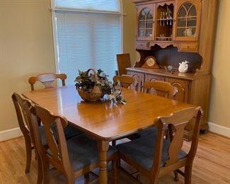 "Mid century Bassett ""Chimney Corners"" dining room furniture."