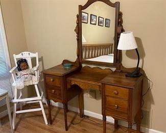 Childs chair, vintage vanity