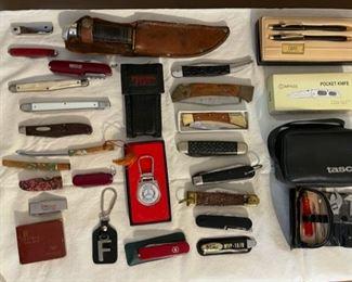pocket knives, cross pen set, Tasco binoculars