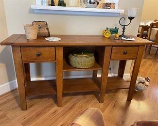 "Broyhill ""Attic Heirlooms"" oak sofa table"