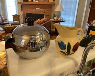 Mid century West Bend chrome penguin hot/cold bucket; Watt #16 tulip pitcher