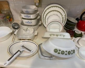 """Cornflower"" casserole dishes; Corelle, Pyrex"