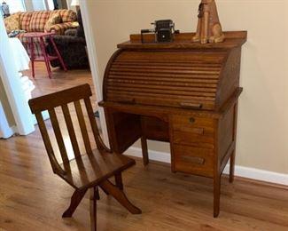 vintage child's oak rolltop desk & chair