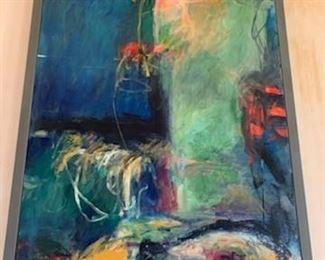 """Harold E. Larsen oil 'Midnight Muse' 62"""" x 38"""""""