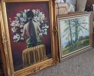 8509-Lg. Framed Girl w/Flowers