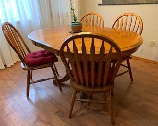 Matching Oak Dining Room Table, 6 chairs, one leaf - matching Oak China Cabinet