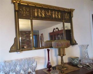Fancy brass mirror, Lightolier table lamp