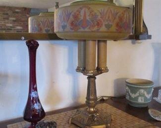 table lamp, inkwell & vase