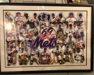 1969 NY Mets World Series Champions Signed Litho with 25 players and 5 coaches  Authenticated
