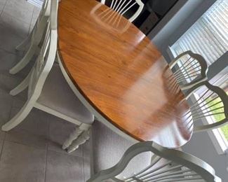 """Farmhouse Dining Table Set Includes 6 chairs & one leaf Good condition.  Measures: 56"""" across (without leaf), 74"""" across with leaf, 56"""" wide x 30"""" tall Must be able to move and load yourself"""