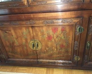 front of china cabinet