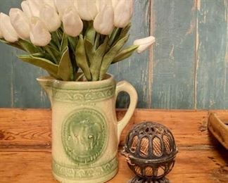 Green Cow Pitcher with Tulips and Iron Twine Holder