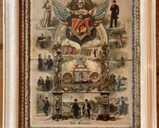 """Antique 19th century Patriotic Print — """"The Mission"""""""