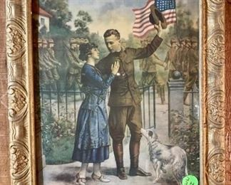 "WWI ""Duty Calls"" antique framed art"
