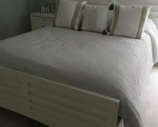 white queen bed includes mattress and springs