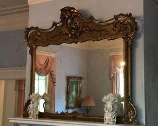 Large Victorian Rococo Revival Mantle Mirror