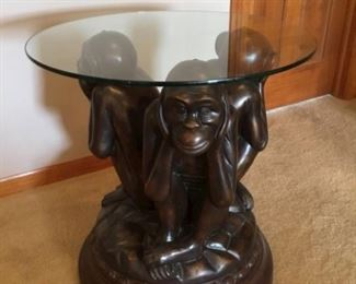 Three Wise Monkeys Glass Top Swivel Table