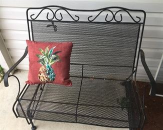 Wrought iron chairs.