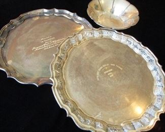 SILVER PRESENTATION PLATTERS FROM GOODYEAR